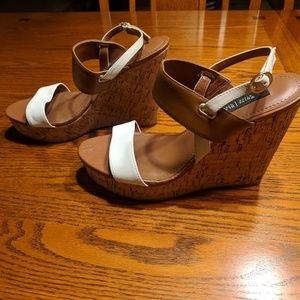 Brown and White Leather Wedges